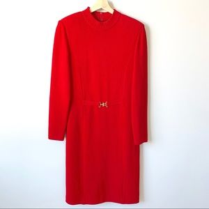ST JOHN Collection Red Knit Buckle Long Slv Dress